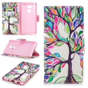 Pattern Printing PU Leather Wallet Phone Case for Sony Xperia XA2 Ultra - Colorized Tree