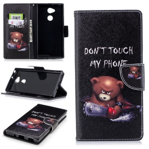 Pattern Printing PU Leather Stand Cover for Sony Xperia XA2 Ultra - Angry Bear and Warning Words