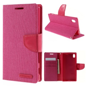 MERCURY GOOSPERY Canvas Stand Wallet  Leather Shell for Sony Xperia Z5 / Z5 Dual - Rose