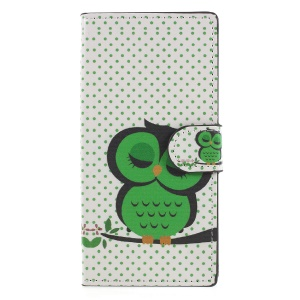 For Sony Xperia XA2 Pattern Printing PU Leather Wallet Stand Folio Cover - Green Owl on the Branch
