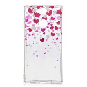 Pattern Printing IMD TPU Soft Casing for Sony Xperia XA2 - Rose Heart