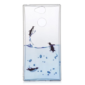 Pattern Printing IMD TPU Soft Phone Accessory Case for Sony Xperia XA2 - Swimming Penguin