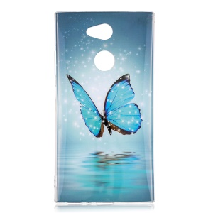 Patterned Noctilucent IMD Soft TPU Gel Shell for Sony Xperia L2 - Shining Blue Butterfly