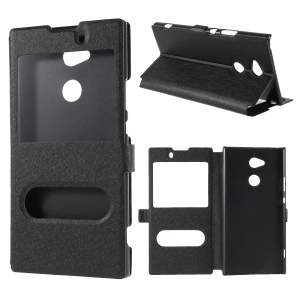 Silk Texture Dual Window Leather Phone Casing for Sony Xperia XA2 Ultra - Black