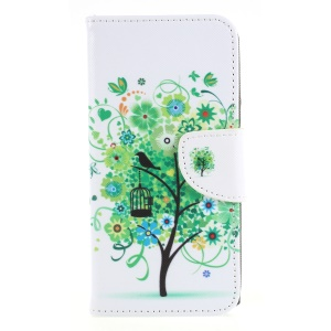 Pattern Printing Wallet Leather Stand Case for Sony Xperia XA2 - Green Tree