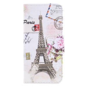Pattern Printing Wallet Leather Stand Cover for Sony Xperia XA2 - Eiffel Tower