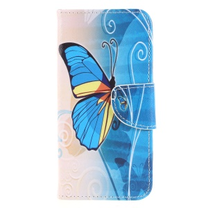 Pattern Printing Magnetic Leather Stand Cover for Sony Xperia XA2 - Blue Butterflies