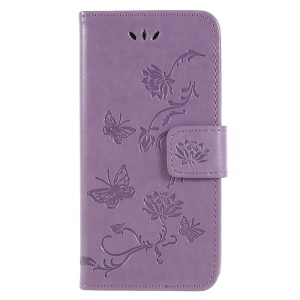 Imprint Butterfly Flower PU Leather Wallet Case for Sony Xperia XZ2 Compact - Light Purple