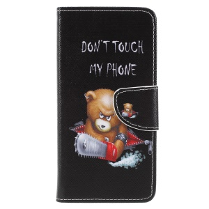 For Sony Xperia XZ2 Cross Texture Patterned Wallet Leather Cover - Angry Bear