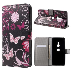 Pattern Printing PU Leather Wallet Cover with Stand for Sony Xperia XZ2 - Butterflies and Flowers
