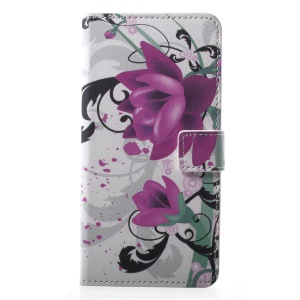 Pattern Printing PU Leather Wallet Stand Cover for Sony Xperia XZ2 - Kapok Flower