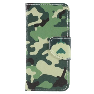 Cross Texture Patterned Leather Stand Cover for Sony Xperia XZ2 Compact - Camouflage Pattern