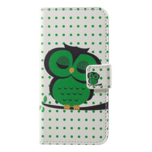 Pattern Printing Cell Phone Leather Wallet Case for Sony Xperia XZ2 Compact - Green Owl on the Branch