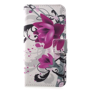 Pattern Printing Wallet Leather Stand Case for Sony Xperia XZ2 Compact - Purple Flowers