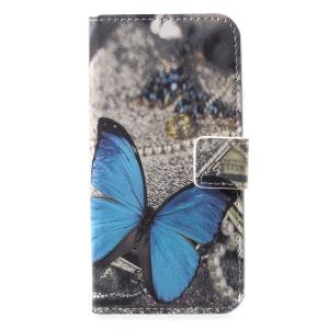 Pattern Printing Leather Card Holder Case for Sony Xperia XZ2 Compact - Blue Butterfly