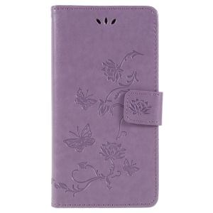 Imprint Butterfly Flower Owl Leather Wallet Shell Cover Case for Sony Xperia XZ2 - Light Purple