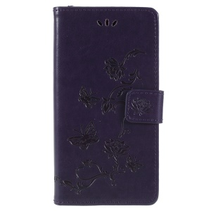 Imprint Butterfly Flower Owl Wallet Leather Stand Case for Sony Xperia XZ2 - Dark Purple