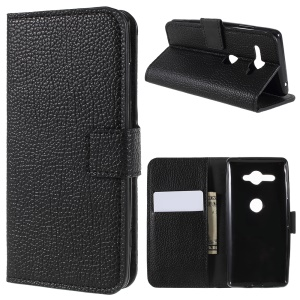 Litchi Grain Leather Wallet Stand Mobile Case for Sony Xperia XZ2 Compact - Black