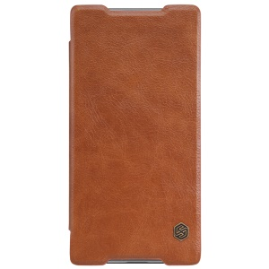 NILLKIN Qin Series Flip Leather Phone Case for Sony Xperia Z5 Premium / Premium dual - Brown
