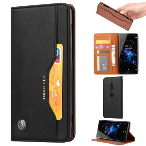Auto-absorbed Leather Stand Phone Case for Sony Xperia XZ2 - Black