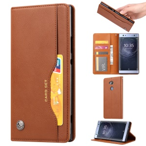 Auto-absorbed Leather Wallet Stand Casing for Sony Xperia XA2 Ultra - Brown