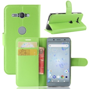 Litchi Texture Flip Leather Wallet Mobile Case for Sony Xperia XZ2 Compact - Green