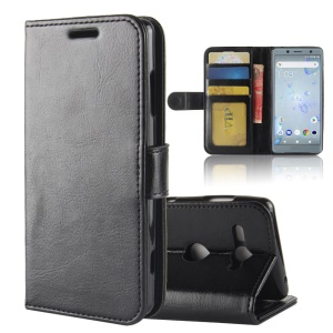 Crazy Horse Texture Wallet Leather Phone Case for Sony Xperia XZ2 Compact - Black
