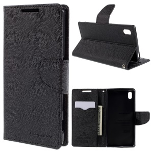 MERCURY GOOSPERY Leather Wallet Case for Sony Xperia Z5 / Z5 Dual with Stand - Black