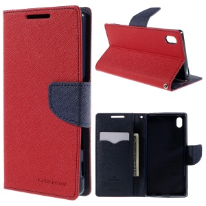 MERCURY GOOSPERY Leather Wallet Cover for Sony Xperia Z5 / Z5 Dual with Stand - Red