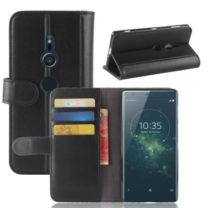 Genuine Split Leather Wallet Stand Case for Sony Xperia XZ2 - Black