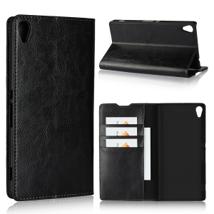Crazy Horse Texture Wallet Stand Genuine Leather Case for Sony Xperia XA1 Ultra - Black