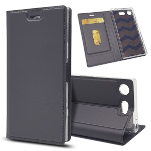 Magnetic Attraction Card Holder PU Leather Stand Case for Sony Xperia XZ1 Compact - Black