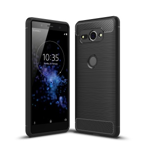 Carbon Fiber Texture Brushed TPU Mobile Phone Case for Sony Xperia XZ2 Compact - Black