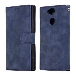 Retro Style Wallet Leather Case with Stand for Sony Xperia XA2 - Dark Blue