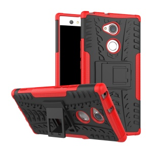 Tire Pattern Kickstand PC + TPU Combo Back Cover for Sony Xperia XA2 Ultra - Red