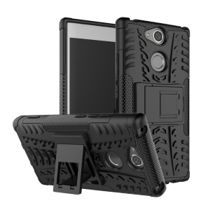 Anti-slip PC + TPU Hybrid Case with Kickstand for Sony Xperia XA2 - Black