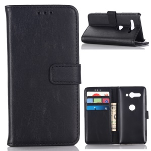 Retro Crazy Horse Leather Flip Stand Wallet Case for Sony Xperia XZ2 Compact - Black