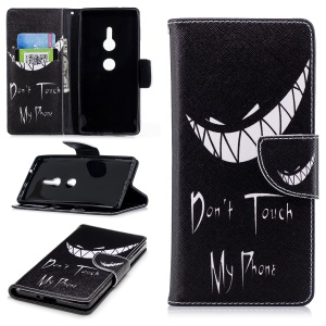 Pattern Printing Leather Wallet Stand Cover for Sony Xperia XZ2 - Angry Face