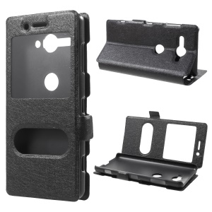 Silk Texture Dual Window Leather Case with Stand for Sony Xperia XZ2 Compact - Black