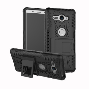 2-in-1 Tyre Pattern PC + TPU Hybrid Case with Kickstand for Sony Xperia XZ2 Compact - Black
