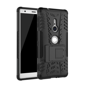 2-in-1 Tyre Pattern PC + TPU Hybrid Case with Kickstand for Sony Xperia XZ2 - Black