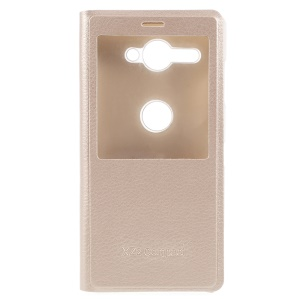 Window View Leather Phone Case for Sony Xperia XZ2 Compact - Gold