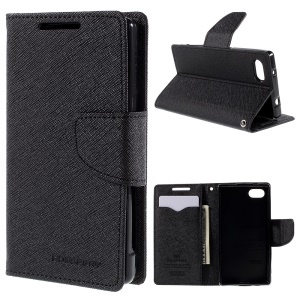 MERCURY GOOSPERY Leather Wallet Case for Sony Xperia Z5 Compact with Stand - Black