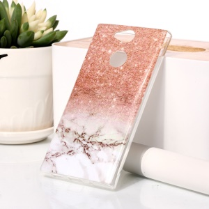 For Sony Xperia XA2 Marble Pattern IMD TPU Mobile Phone Casing - Orange / Grey