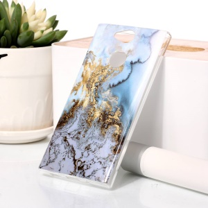 For Sony Xperia XA2 Marble Pattern IMD TPU Cell Phone Case - Gold / Blue