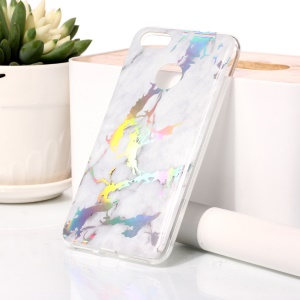 Marble Pattern Colorized Electroplated TPU Shell Case for Huawei Y6 Pro (2017) / Enjoy 7 / P9 lite mini - White