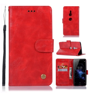 Premium Vintage Leather Wallet Shell Case for Sony Xperia XZ2 - Red