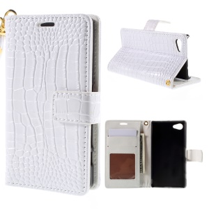 Crocodile Skin Flip Leather Wallet Stand Cover for Sony Xperia Z5 Compact - White