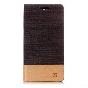 Bi-color Canvas Leather Card Holder Stand Flip Casing for Sony Xperia XA2 - Coffee