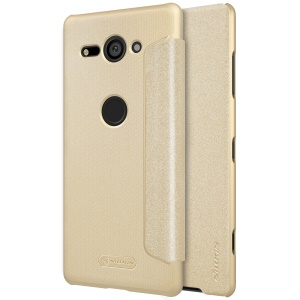 NILLKIN Sparkle Series Leather Flip Phone Case Shell for Sony Xperia XZ2 Compact - Gold